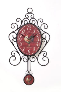 Red Rooster Iron Art Wall Clock