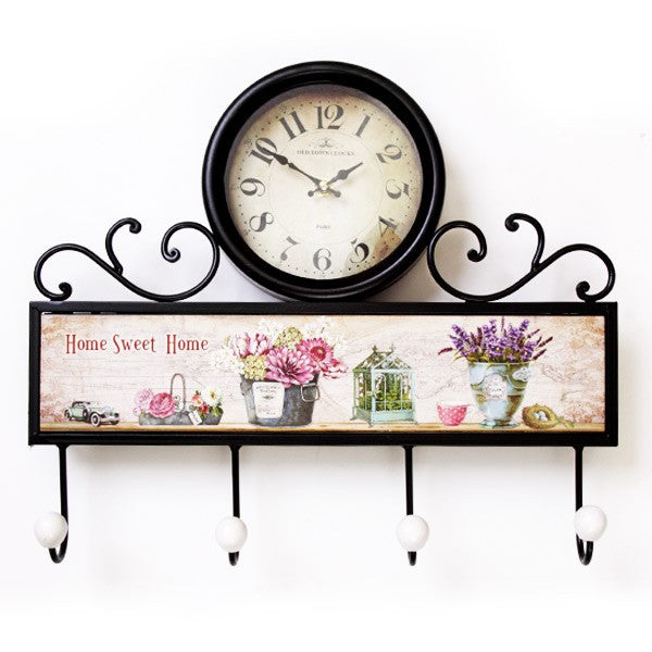 Flower Design Wall Clock with 4 Hooks