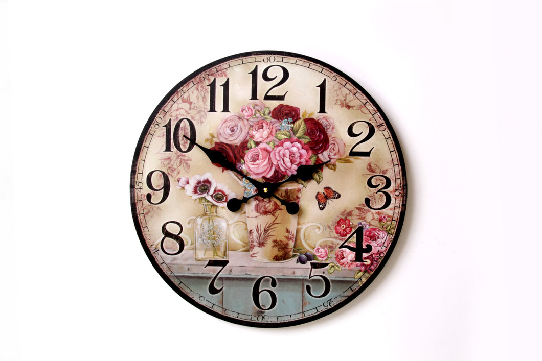 Rose Design Wall Clock
