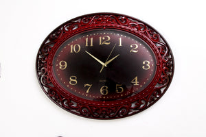 Oval Black and Red Wall Clock