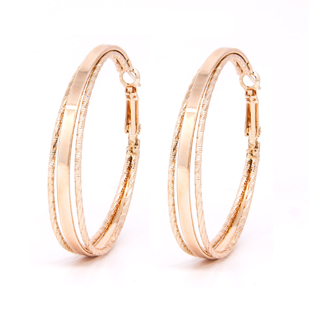 Rose gold tone hoops