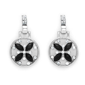 Round hanging silver tone earrings with black and clear crystal flower design