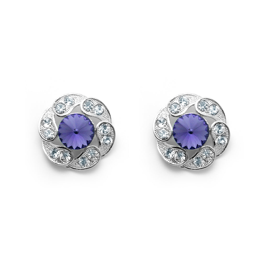 Silver tone round earring with purple and clear crystals