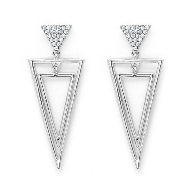 Silver tone triangular shaped drop earrings with clear crystals