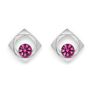 Silver tone square earrings with pink centre crystal