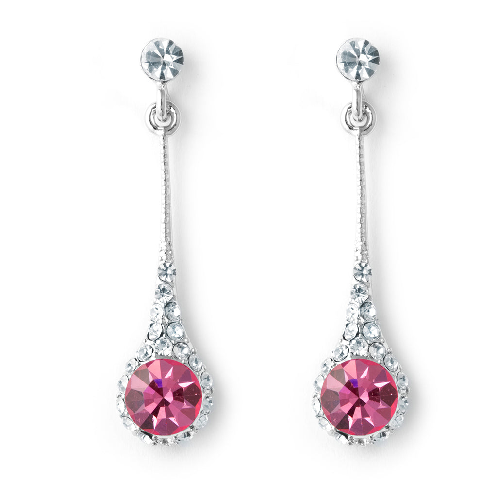 Silver tone delicate hanging earrings with pink and clear crystals