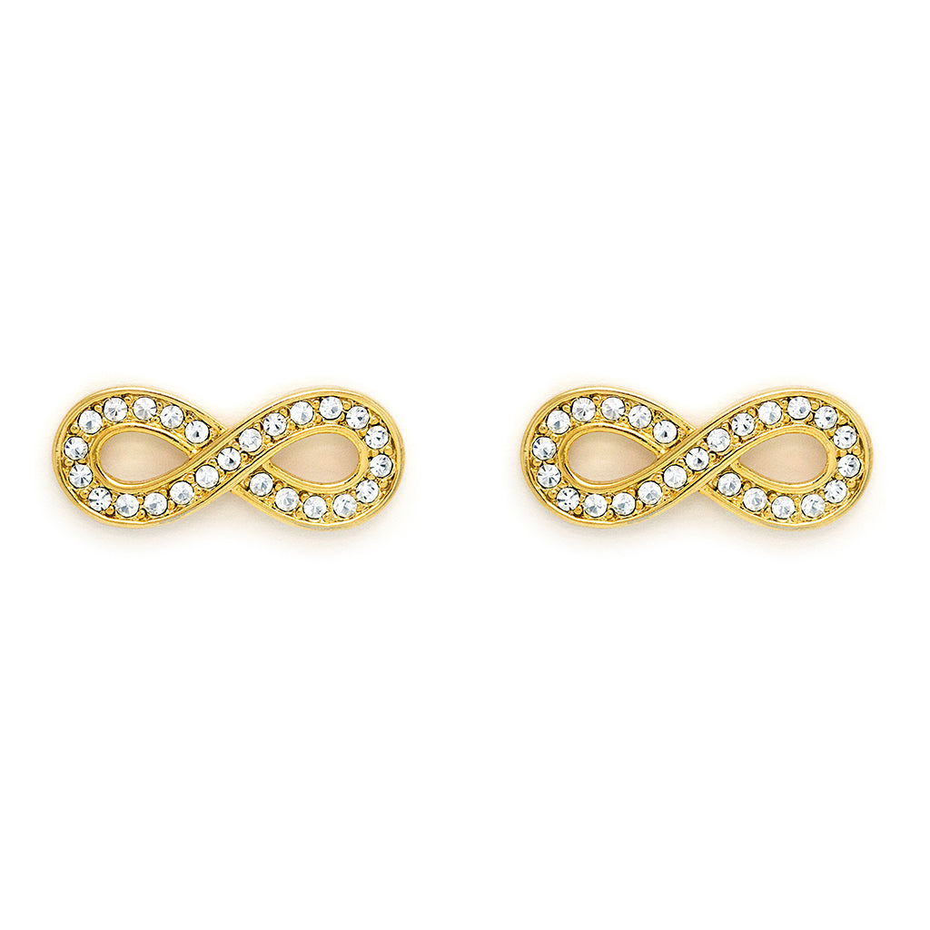 Gold Tone Infinity Style Earring with clear crystal inlay