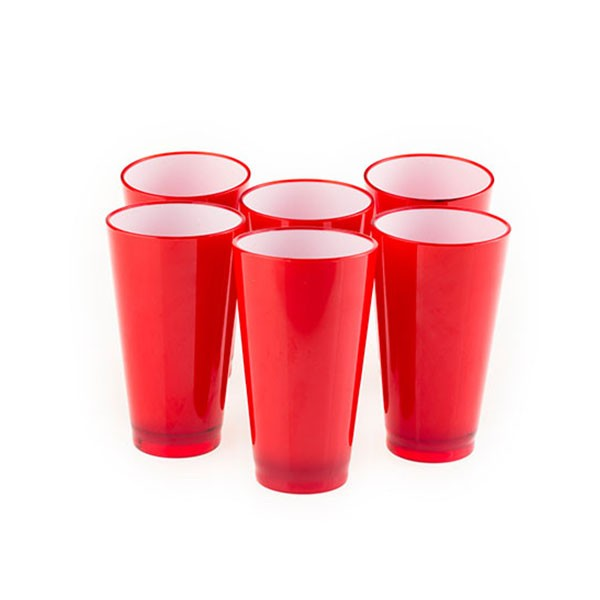Colourful Glasss 350ml (Red) (Set of 6)