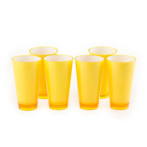 Colourful Glasss 350ml (Yellow) (Set of 6)
