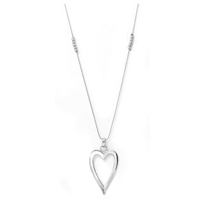 Silver tone heart pendant and necklace