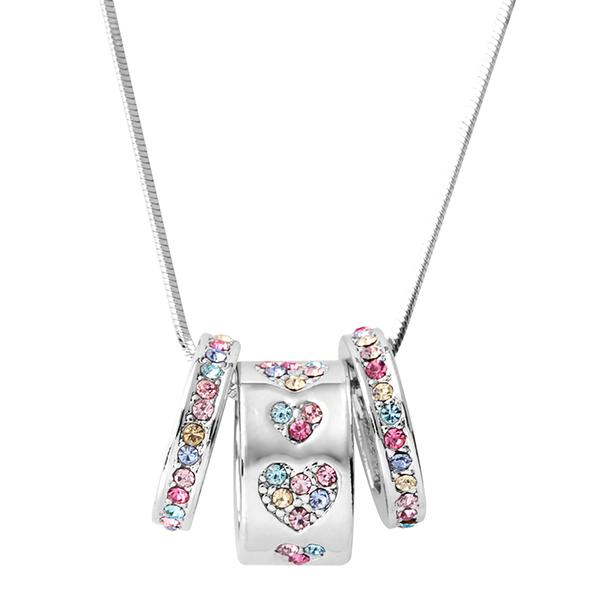 Silver tone triple ring necklace with multi coloured crystals