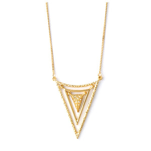 Gold tone triangular necklace with clear crystal inlay