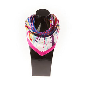 Silk Scarf - Pink Trim Multi-Coloured Pattern