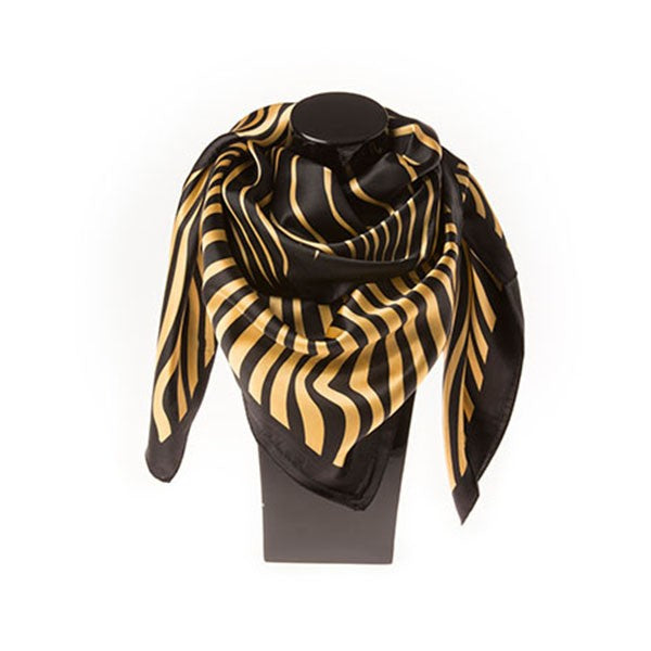 Silk Scarf - Black Trim Animal Print Pattern
