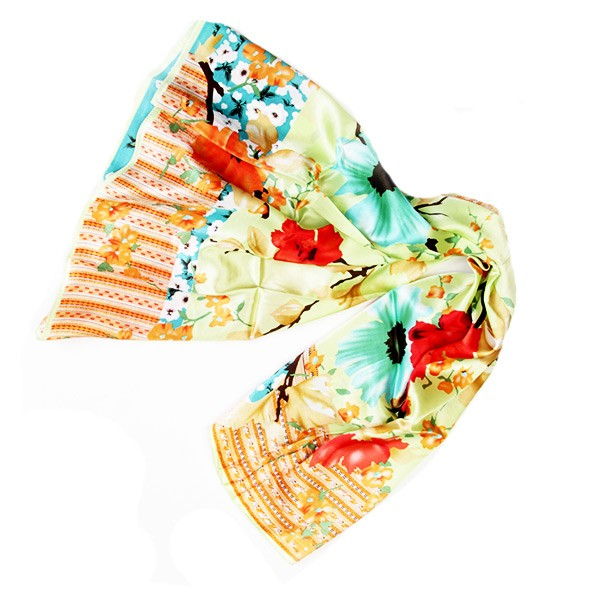 Silk Scarf - Green Floral Pattern