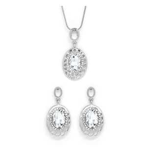 Oval shaped earring and necklace set
