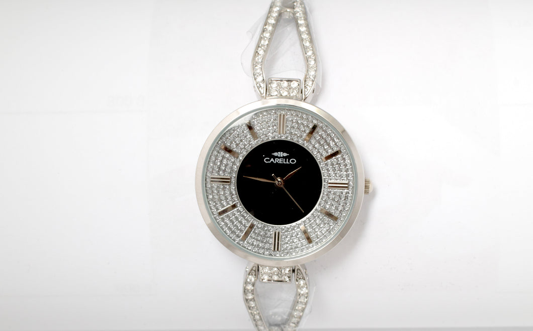 Silver Watch with Black Face and Diamante Braclett Strap
