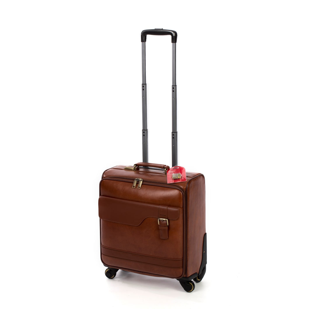Brown Leather Spinner Brief Case (53cm)