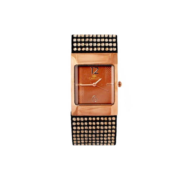 Square Bronze Watch with Brone Face and Black Studded Strap