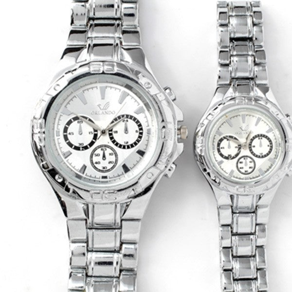 Silver Chronograph Watch with Silver Face (Set of 2)