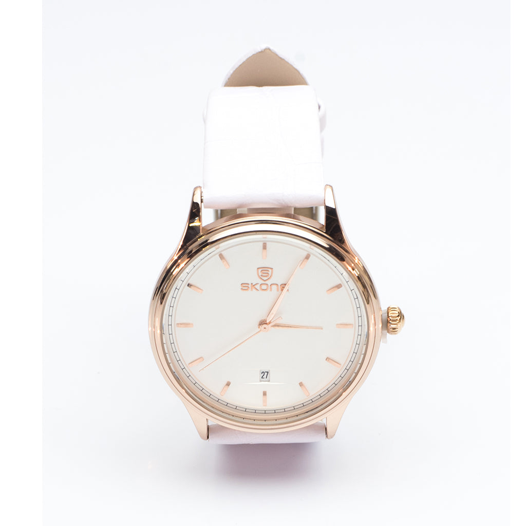 Gold Watch with White Strap