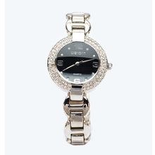 Load image into Gallery viewer, Silver Watch with Black Face and Braclett Strap