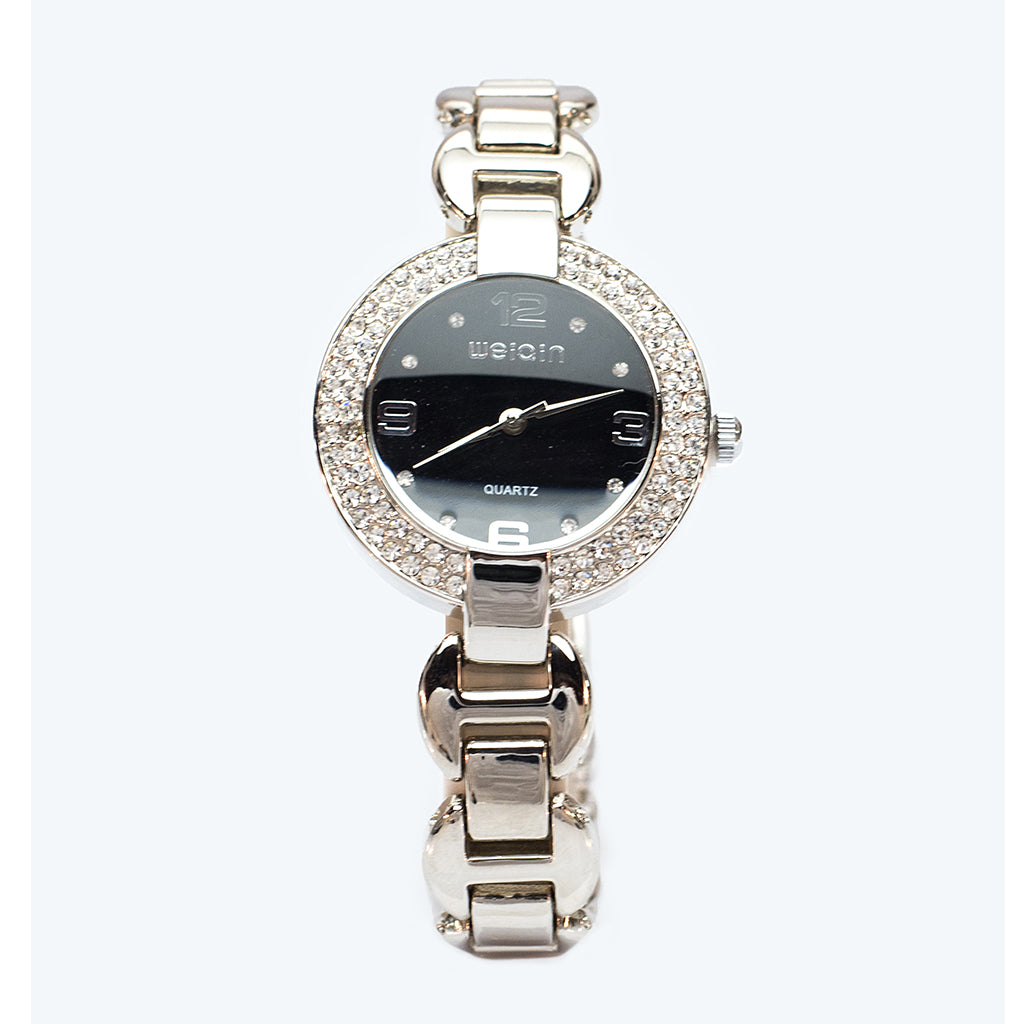 Silver Watch with Black Face and Braclett Strap