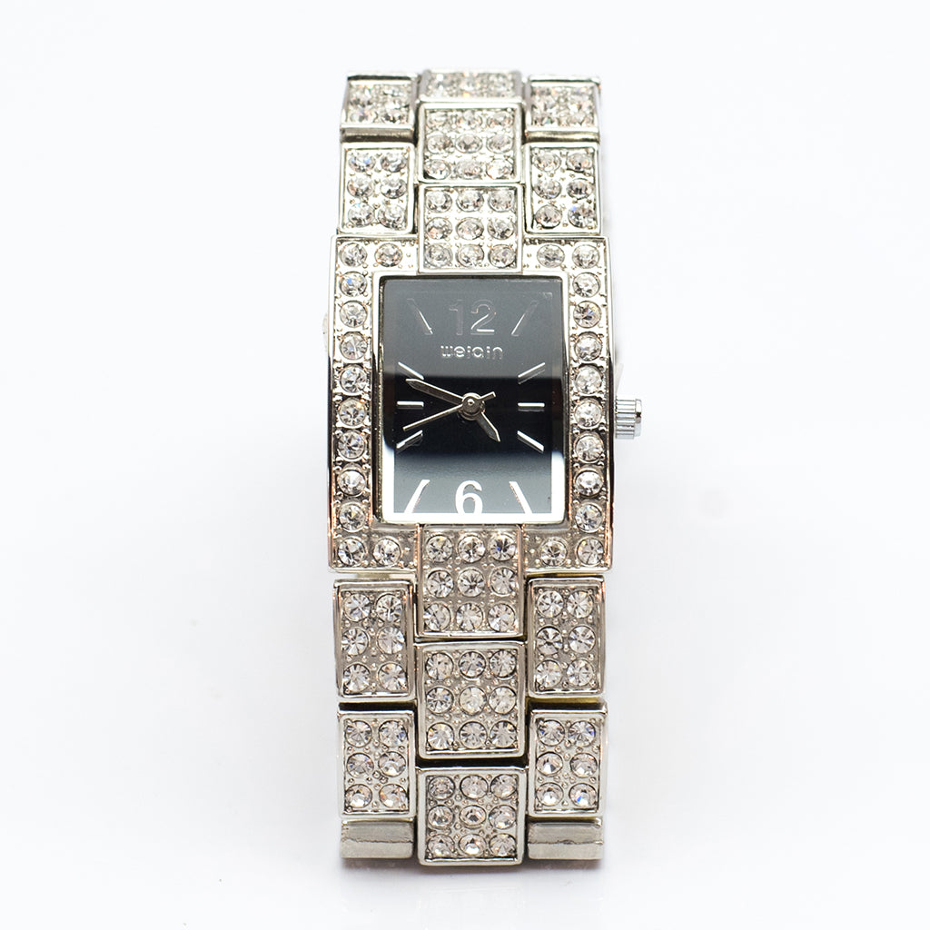 Square Watch with Black Face and Diamante Strap