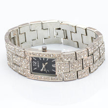 Load image into Gallery viewer, Square Watch with Black Face and Diamante Strap