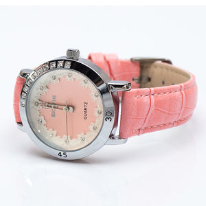 Silver Watch with Pink Leatherette Strap