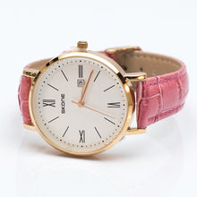 Load image into Gallery viewer, Gold Watch with Pink Leatherette Strap