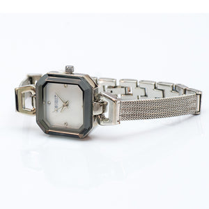 Square Watch with Black Bezel and Bracelet Straps