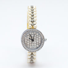 Load image into Gallery viewer, Silver Watch with Diamante Face and Simulated Pearl Strap