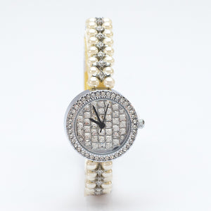 Silver Watch with Diamante Face and Simulated Pearl Strap