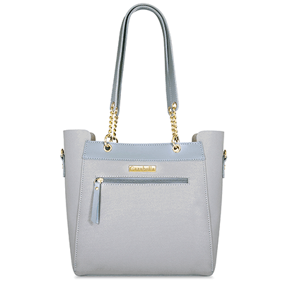 Light Blue Two Tone Textured Tote Handbag