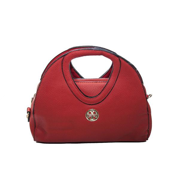 Structured Red Round Top Handbag