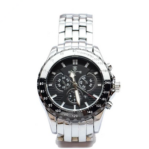 Silver Chronograph Watch with Black Face and Black Bezel