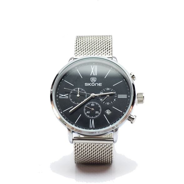 Silver Chronograph Watch with Black Face and Silver Mesh Strap