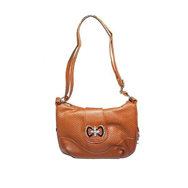 Tan Handbag with Crystal Bow