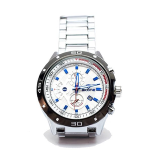Silver Chronograph Watch with Blue Hands and Numbers