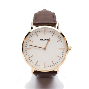 Gold Watch with Brown Leatherette Strap