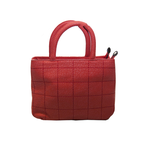 Red Handbag with Checked Stitching