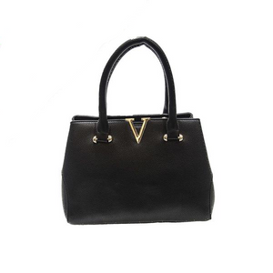 Classic Handbag with Gold V Buckle
