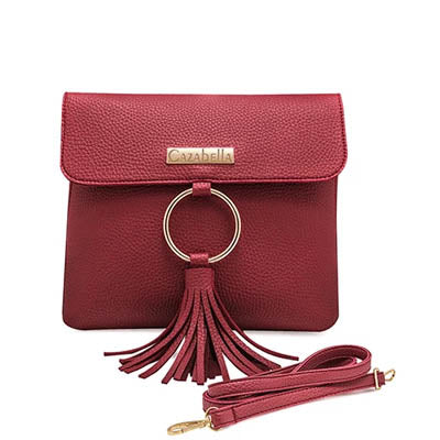 Red Cross Body handbag with Tassles