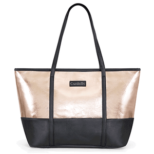 Rose Gold & Black Colour Block Tote Handbag