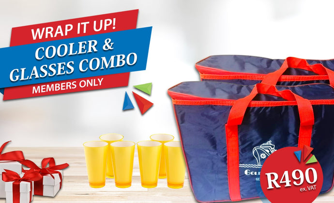 Wrap It Up - 2 x Cooler Bags and 6 Colourful Glasses