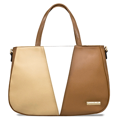 Tan & White Colour Block Satchel Handbag