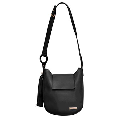 Black Hobo Handbag with Tassels