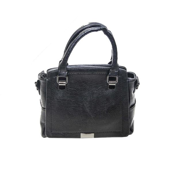 Black Plain Leatherette Handbag