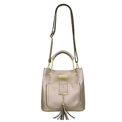 Pewter Bucket Bag with Top Handles and Tassel